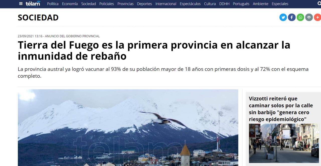 Todo el país destaca que Tierra del Fuego alcanzó la «inmunidad de rebaño»